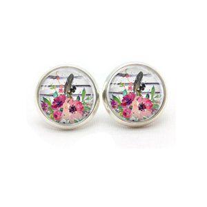 Bohemian Floral Stud Stainless Steel Earrings